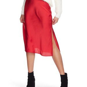 NEW 1. STATE Sateen Bias A-Line Midi Skirt Red 6